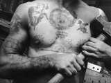Heavily Tattooed Chest and Arms of Workman at the Bethlehem Ship Building Co