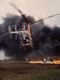 Firefighting Helicopter Dousing Flames
