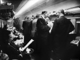 Commuters Socializing in Lounge Car on New York New Haven Line During Evening Rush Hour