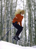Ski Instructor Carolyn Zinke Flying Down a Slope  Ski Life in Aspen