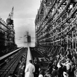 """Shipyard Workers Watching as the """"Bethlehem Fairchild"""" Launches Into the Water"""