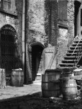 Barrels and Staircase in Alley on the Bowery  New York