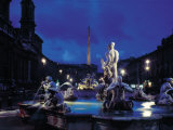 Fountains in the Piazza Navona at Night