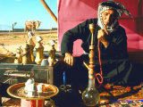 Arab Shepherd Smoking His Hookah as He Relaxes in a Roadside Tea Tent