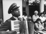 Navy CPO Graham Jackson Playing Accordian  Crying as Franklin D Roosevelt&#39;s Body is Carried Away
