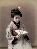 Hand Tinted Photograph of Japanese Dancing Girl Making Paper Bird