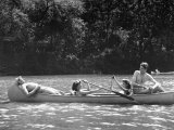 Friends Enjoying Themselves on Their Canoe Trip in the Potomac River