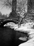 Gapstow Bridge over Pond in Central Park After Snowstorm