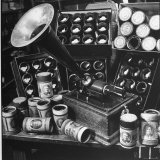 Phonograph Invented by Thomas A Edison Sitting on Table with Boxes of Cylindrical Records