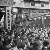 People Gathering in the Streets of Chinatown to Welcome Madame Chiang Kai Shek