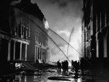 London Auxiliary Fire Service Working on a Fire Near Whitehall Caused by Incendiary Bomb