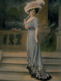 Model Wearing Pale Blue Robe de Diner  with Pink Rose Pinned to Bust and Large White Feathered Hat