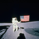 Astronaut Alan Shepard Planting American Flag on the Moon's Surface During Apollo 14 Mission
