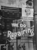 Franklin D Roosevelt Poster Hanging in a Repair Store Window on Madison Avenue