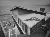 Guests Playing Cards and Sunbathing at Cliffside Home of W M MacConnell