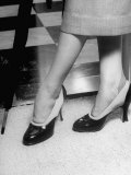 Actress Nanette Fabray Modeling Two Tone Shoes