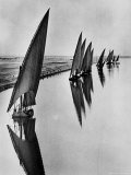 Boats Sailing Along Suez Canal