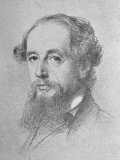 Artist's Sketch of Head of English Novelist Charles Dickens Above the Author's Autograph