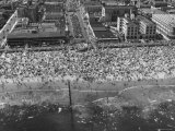 Aerial View of Crowds Enjoying a Hot 4th of July at Rockaway Beach