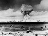 Huge Mushroom Cloud Hangs over Bikini During American Atomic Bomb Test