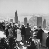 Sightseers Taking a Guided Tour on Top of the Rockefeller Center Post Office's Roof