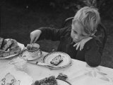 Evacuated London Child Having Tea Outdoors in the Country Where He is Living Temporarily