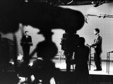 Presidential Candidates Senator John Kennedy and Richard Nixon Standing at Lecterns Debating