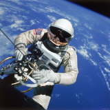 Astronaut Ed White Making First American Space Walk  120 Miles Above the Pacific Ocean