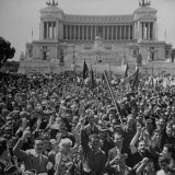 GIS and Civilians Cheering in the Rome Forum After the Allies Captured Rome