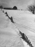 Four Ft of Snow Almost Covering Up Snow Fence in Front of Barn on the Hill on Upstate Farm