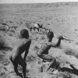 Bushman Throwing His Spear at a Winded Gemsbok