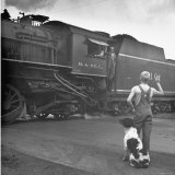 Young Boy and His Dog Standing at the Crossing as a Train Rides Through