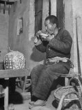 Farmer Eating Noodles at Tea Shop