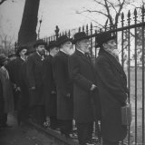 Orthodox Rabbis Outside of the White House Gate Hoping to See Harry S Truman