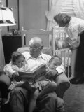 Harry Frantz Reading His Grandchildren to Sleep