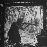 Marine in Action During Fight to Take Bougainville in Solomon Islands During WWII