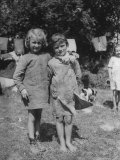 Little Girls at Civil Affairs Refugee Camp During WWII