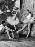 Denise Bourgeois and Claude Bessy Taking a Breather in Front of a Degas Background
