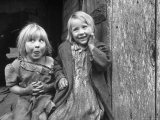 Four Year Old Flora and Her Sister Jacqueline Couch  6 Smiling at the Camera