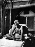 Holy Man Sri Ramana Maharshi Sitting in Bed