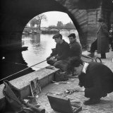 Parisians Painting and Fishing Along the Seine