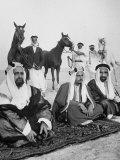 Sheikh Sir Sulman Bin Hamad Sitting with His Oldest Son