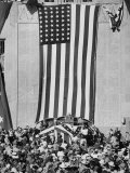 Dwight D Eisenhower Making a Political Speech in Front of Huge American Flag