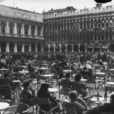Crowd in Piazza San Marco Tables at Cafe Florian in Foreground