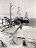 Fishing Ships Anchored at Dock During Winter on Martha's Vineyard