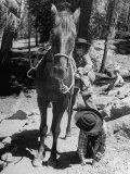 Judy Gordon Mounting Horse with Help of Sister Becky Gordon