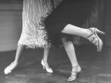 Charleston Dancers in Fringed Skirts Wearing Rhinestone Trimmed Pumps and Strapped Sandals