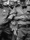 Little Boy Peeking Between Police Men to See Dwight D Eisenhower Give His Speech
