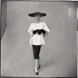 Fashion Model Showing Polka Dotted Smock Top over Black Skirt by Balenciaga