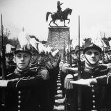 Cadets Lining Up in Front of the Statue of Gen Jean Baptiste Kleber